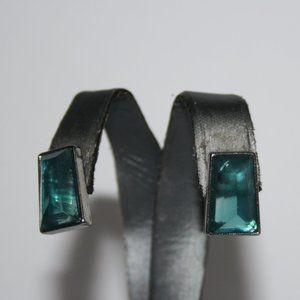 Beautiful silver and aqua blue post earrings